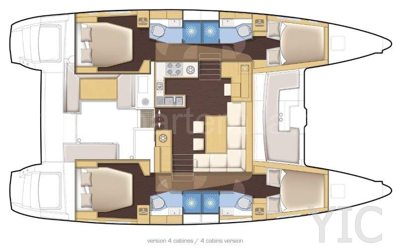 lagoon 450 layout, charter catamaran